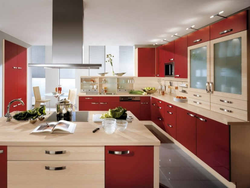 Awesome Red Storare For Modern Kitchen