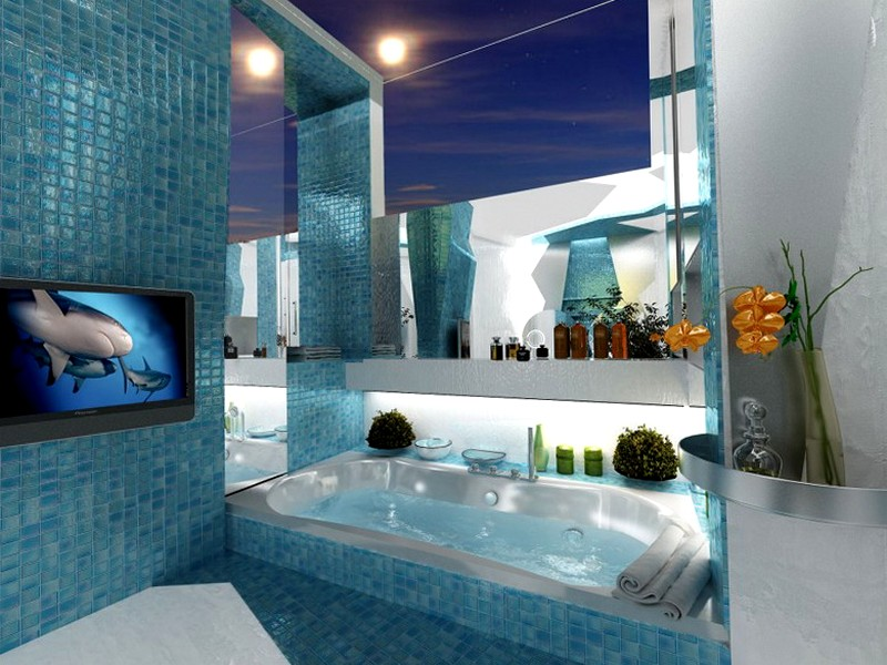 Lovely Beautiful Blue Color Idea For Relaxing Bathroom