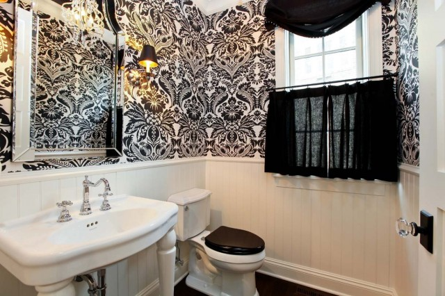 Beautiful Floral Wallpaper For Small Bathroom