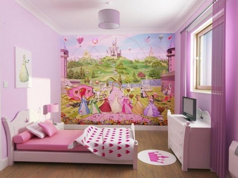 Beautiful Girls Bedroom Wallpaper Design Idea
