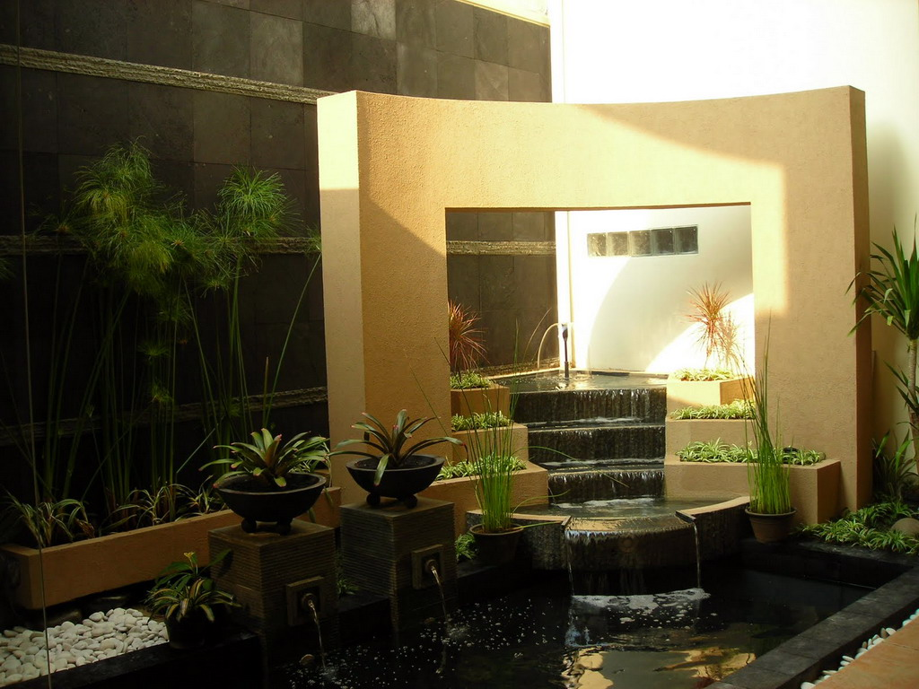 Minimalist Garden With Mini Waterfall