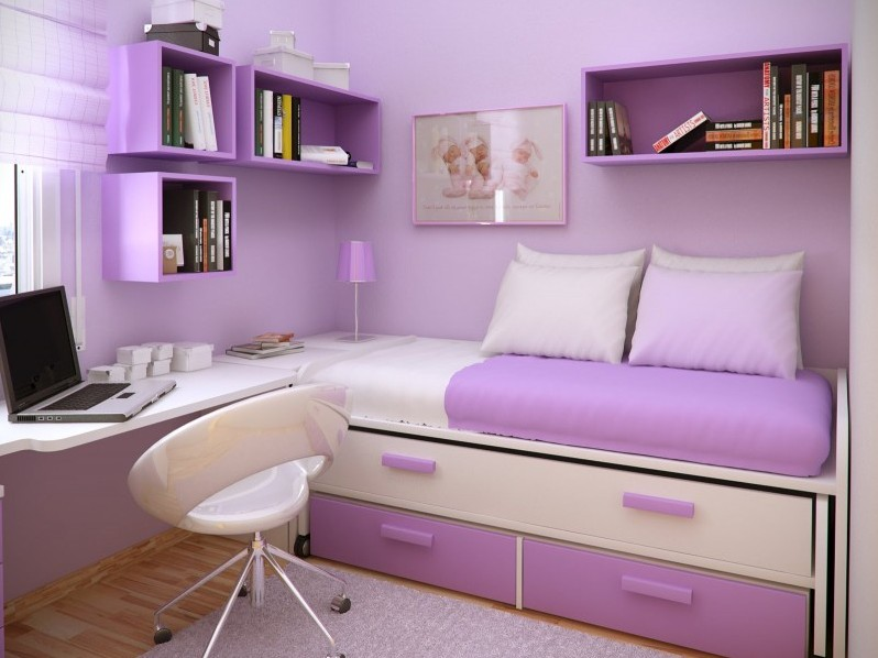 Beautiful Purple Bedroom Color Design Idea