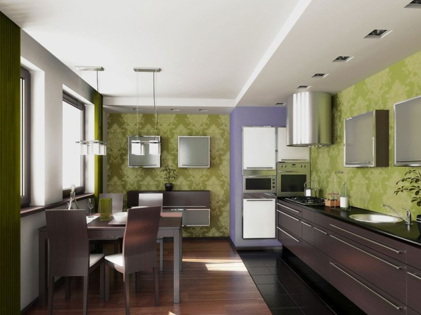 Beautiful Wallpaper Design For Simple Kitchen
