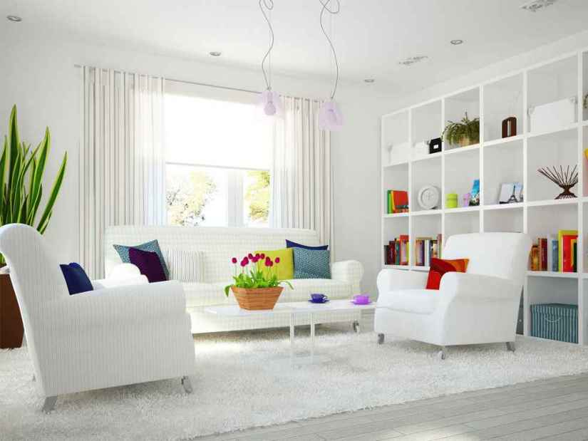 Beautiful White Family Room Color Idea
