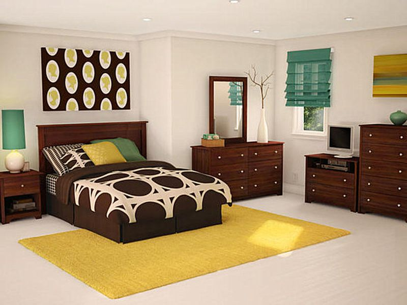 Beautiful Yellow And Brown Teen Bedroom