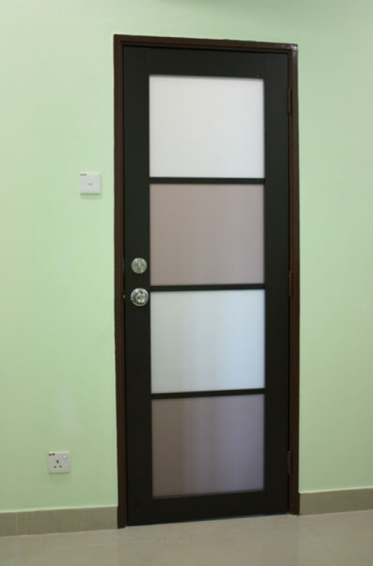 Black Alumunium Door For Bathroom Design