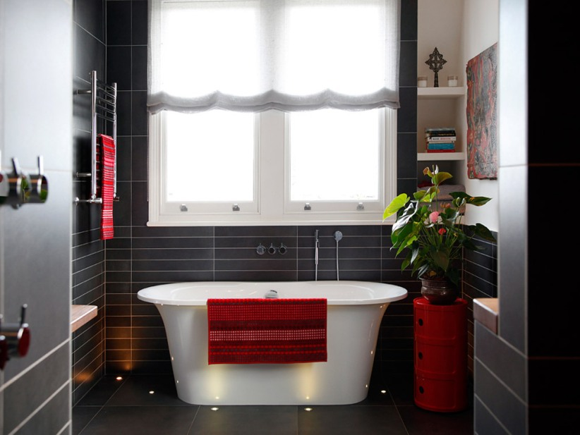 Black And White Bathroom With Red Furniture