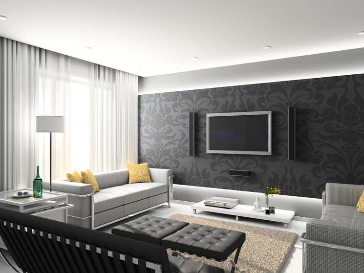 Black And White Living Room Wallpaper - 4 Home Ideas