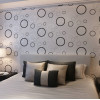 Black Circle Wallpaper On White Bedroom