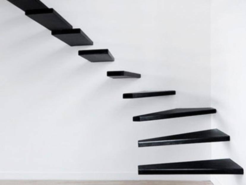 Black Stair Design On The Wall