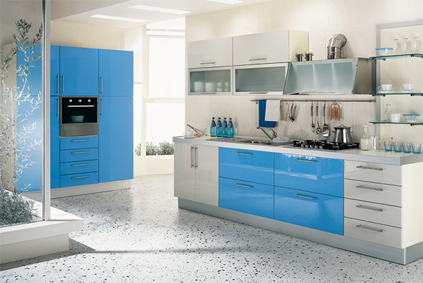 Blue And White Simple Kitchen Design Part 73