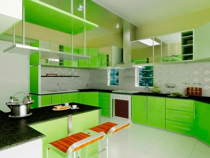 Bright Green Color For Modern Kitchen