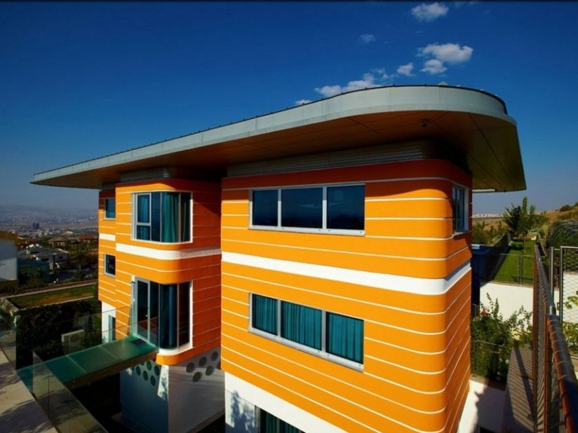 Bright Orange Paint For Modern House