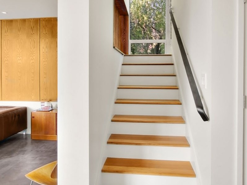 Brown And White Color Idea For Stair