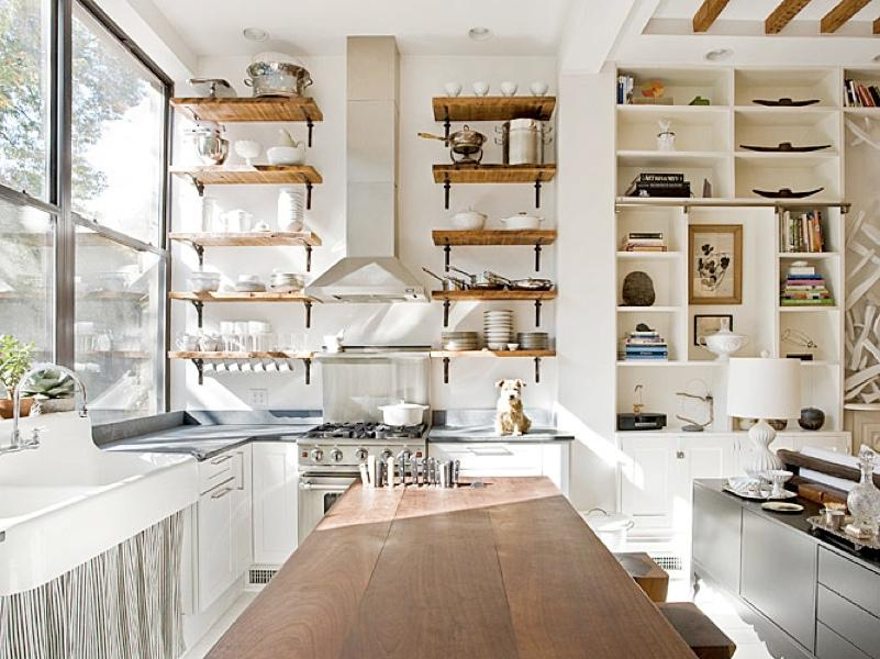 Clean White Kitchen Shelves Layout Design