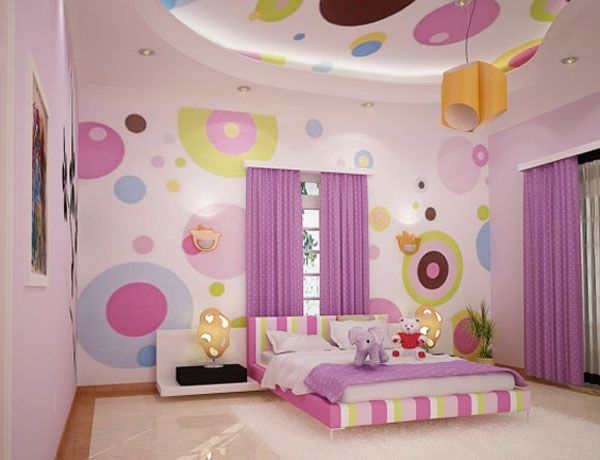 Colorful Circle Bedroom Wallpaper Design Image