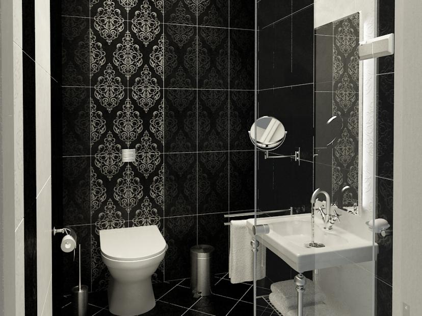 Modern black and white bathroom wallpaper 4 home ideas for Modern bathroom wallpaper