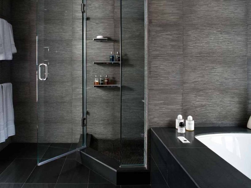 Contemporary Home Bathroom With Black Color