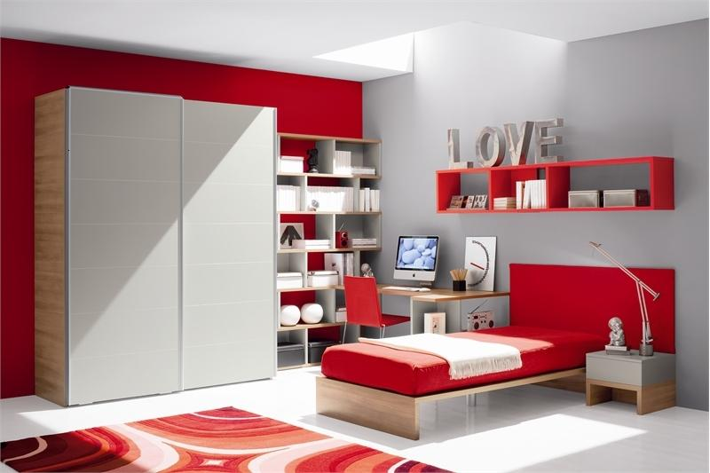 Cool Red And Gray Teen Bedroom