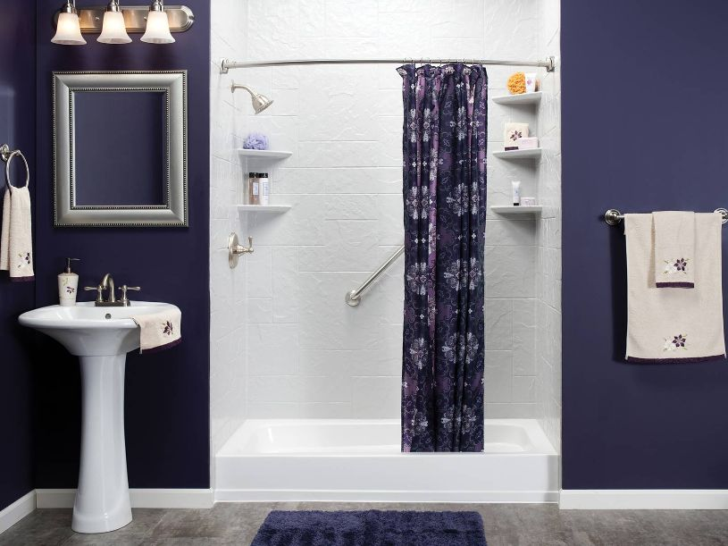 Decorative Bathroom Design With Purple Color