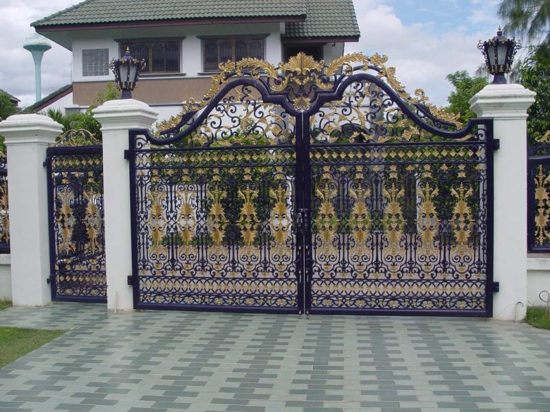 ... Elegant Black And White Home Fence Black Gate And Fence Design Image  Beautiful Color ...
