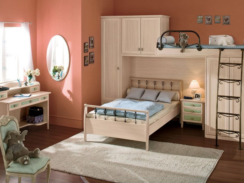 Elegant Child Bedroom With Brown Color