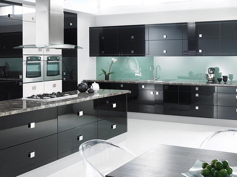 Elegant Modern Black Kitchen Layout Design