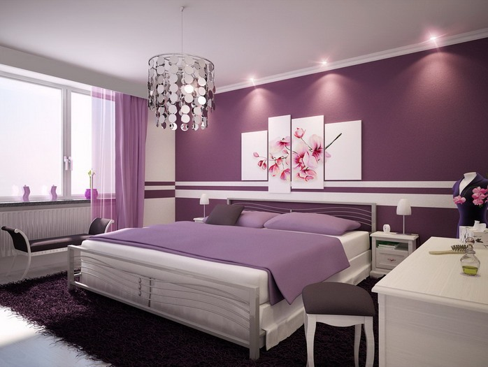 Elegant Purple Color Idea For Wall