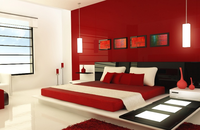 Elegant Red And White Bedroom Paint