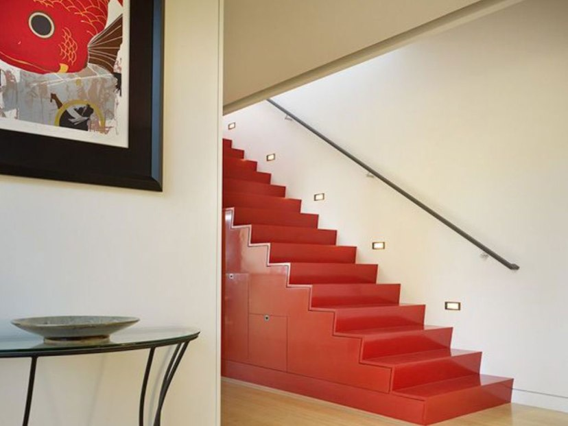 Elegant Red Stairs Color For Modern Home