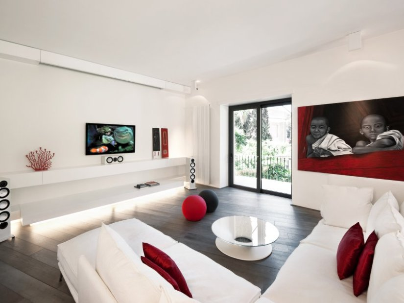Elegant White And Red Living Room