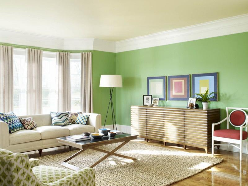 Fresh Green Paint Design In Living Room