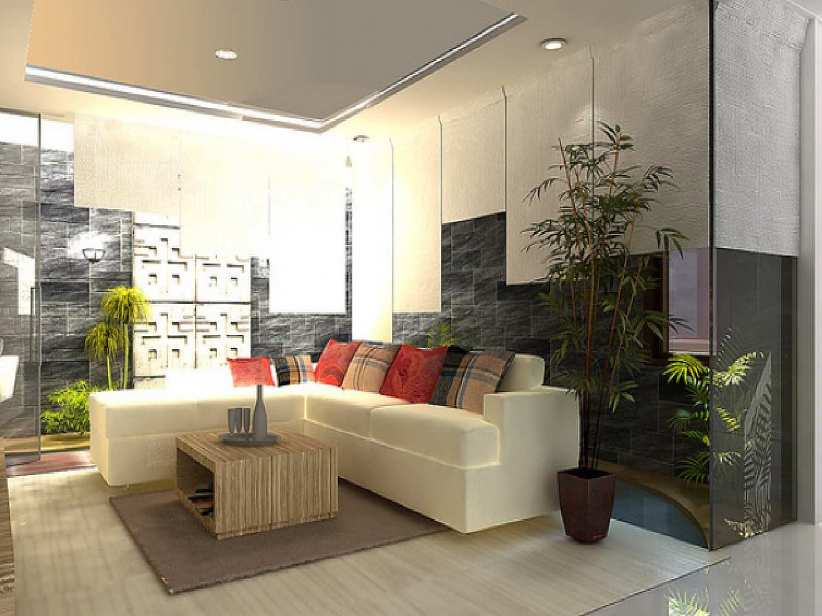 ... Fresh Living Room Idea With Green Plants ...