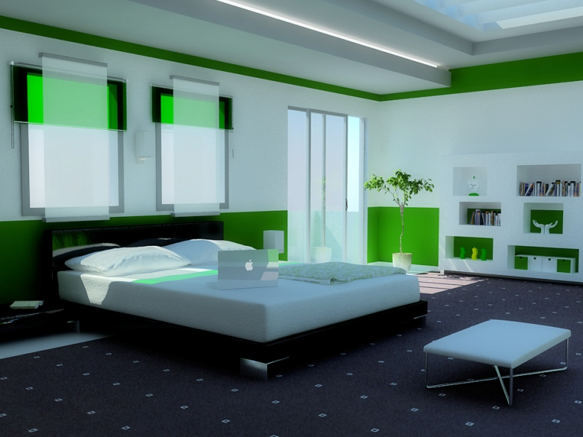 Green And White Bedroom Theme Idea