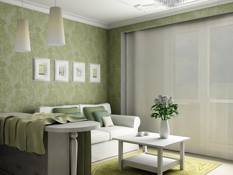 Green Floral Wallpaper For Living Room