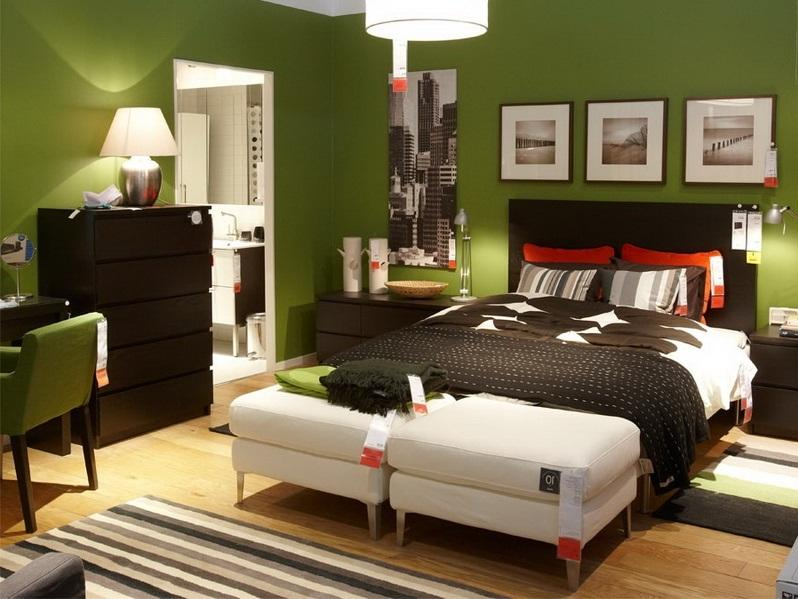 Green Paint Color For Minimalist Bedroom