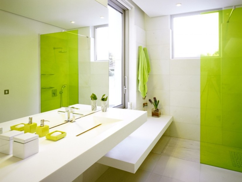 Impressive Green And White Bathroom Design