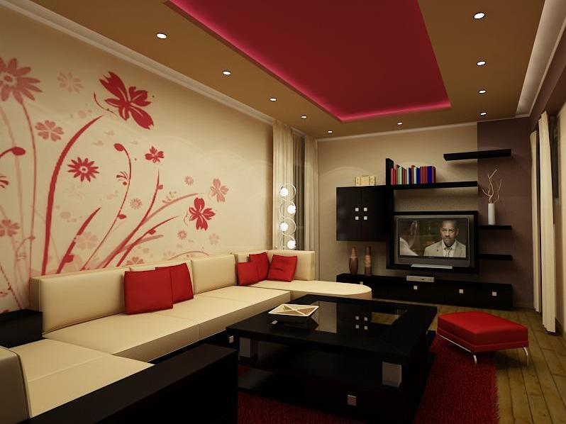 Inspirational Beautiful Red And White Living Room
