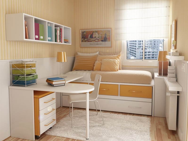 Inspiring Beige Color For Small Bedroom
