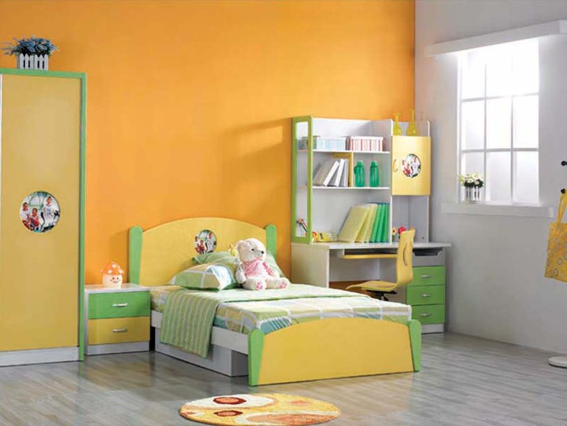 Light Yellow And Green Child Bedroom Design