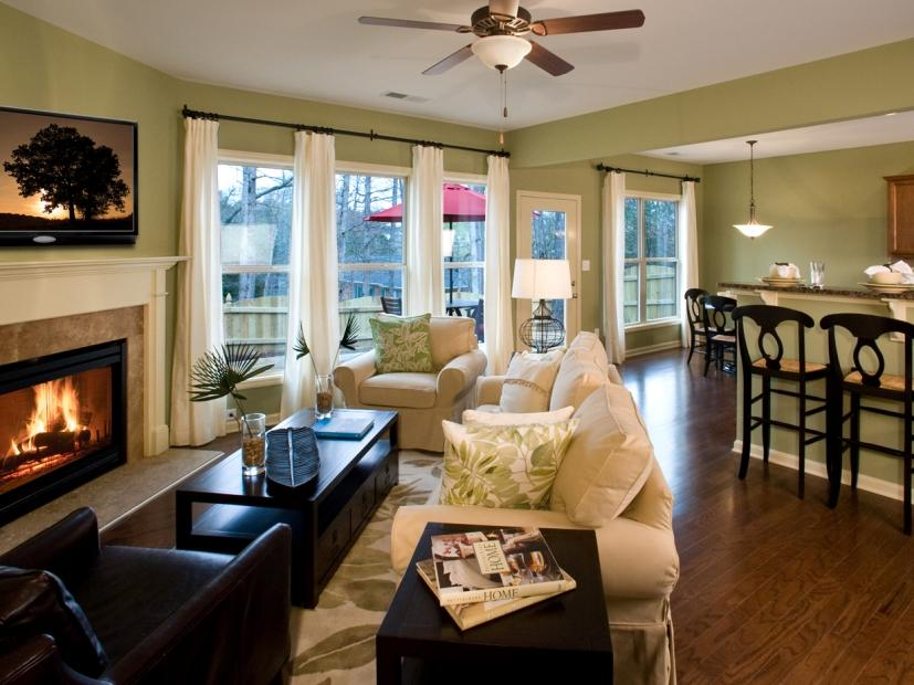 Living Room Interior With Ceiling Fan