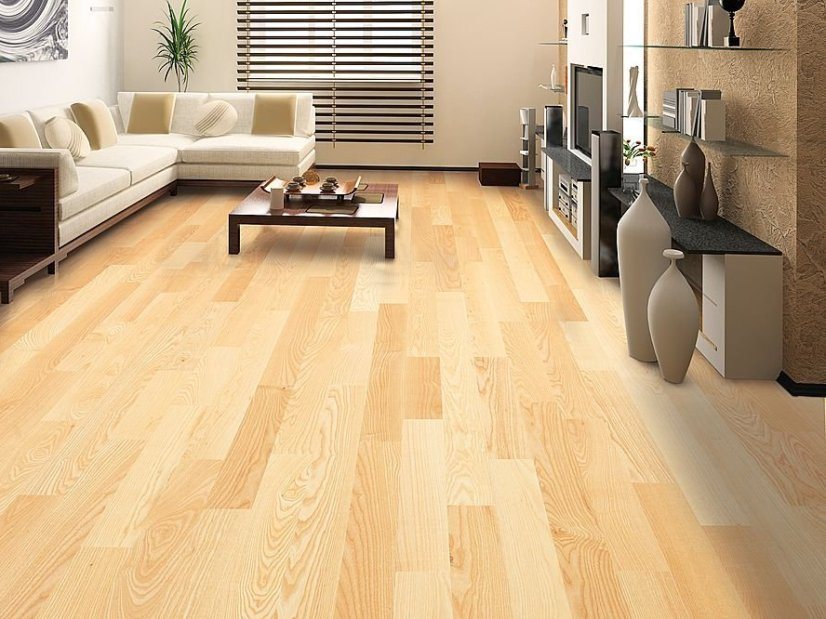 Living Room Wood Floor Design Idea