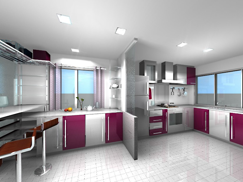 Luxury White And Purple Home Kitchen