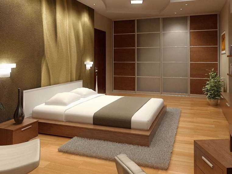 Minimalist Brown Theme For Modern Bedroom