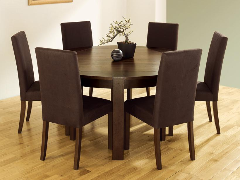 Minimalist Circle Wooden Dining Table Design