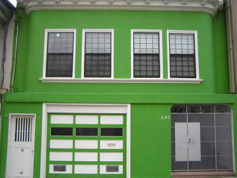 Minimalist Green And White Home Exterior
