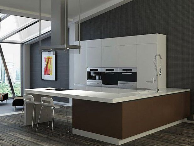 Minimalist Home Kitchen With Brown Color