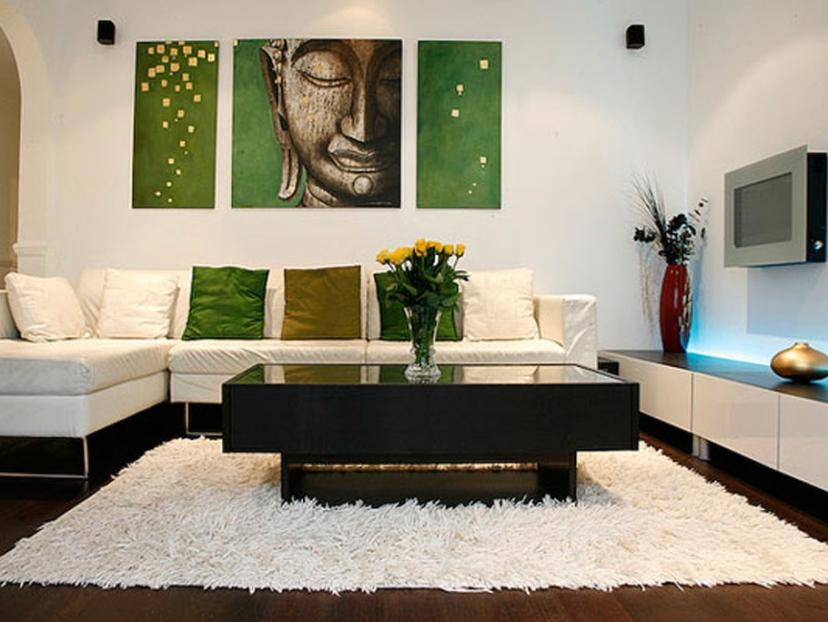 Minimalist Living Room With Green And White Color