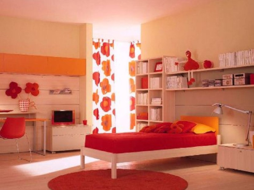 Colorful kids bedroom interior and furniture decoration