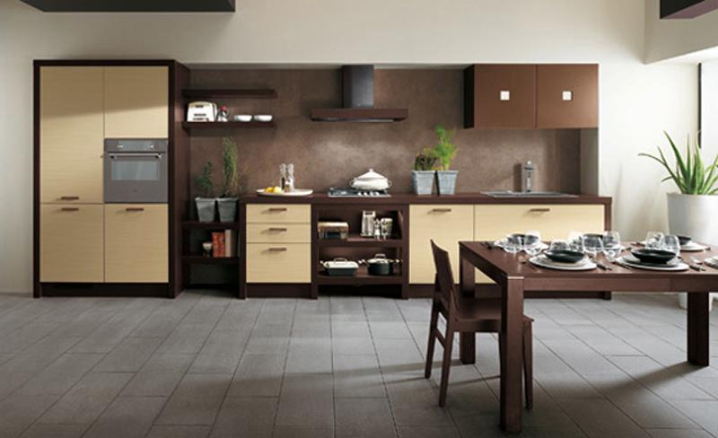 Minimalist Simple Brown Kitchen Design Idea